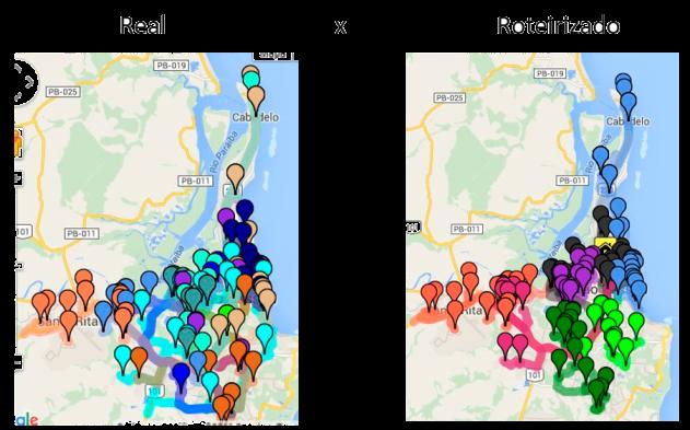 Panorama das entregas realizadas pelo cliente Fusion antes e depois da roteirização e estabelecimento de um horário de corte dos pedidos.